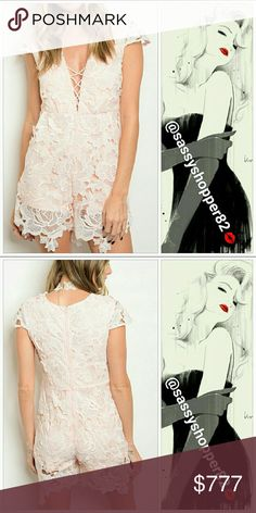 """🔥1 LEFT-""""VICTORIA"""" Lovely lace Blush pink romper Brand new with tags,  Boutique item, price is firm  Lovely in Lace blush pink romper featuring cap sleeves & criss cross neckline. Absolutely stunning!! Pair with heels and off you go!  Material 65%Cotton 35% polyester  Zips up in back Small Bust 35""""/ Waist29"""" Length 29""""to corners Medium Bust 36""""/Waist31""""Length 30"""" to corners Large Bust 38""""/Waist /31""""/Length 31 """" to corners Measurements approx: please check before purchasing.  Date night…"""