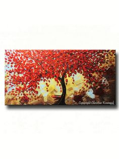 """Cherished"" beautiful CUSTOM Original #art. Abstract red tree palette knife painting. Made-to-Order - modern textured large autumn tree landscape paintings contemporary gallery fine art. Home wall art decor with shades of blue brown gold. by Internationally Collected Artist Christine Krainock - Christine Krainock Art - Contemporary Art by Christine - 1"