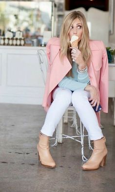 Pink Lily, Pink Blue, Live Wire, Ice Cream Parlor, Small Town Girl, Color Combos, White Jeans, Bell Sleeve Top, Pretty