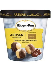 Häagen-Dazs Artisan Collection Tres Leches Brigaderio | through a collaboration with paula of my sweet brigadeiro™, we deconstruct her happy couple™ brigadeiro to make a decadent sweetened condensed milk and cocoa sauce, then swirl it into creamy tres leches ice cream.