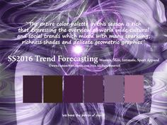 SS2016 Trend Forecasting for Women, Men, Intimate and Sport - The entire color palette in this season is rich that expressing the overview of world wide cultural and social trends which mixed with many sparkling, richness shades and delicate geometric graphics  www.FashionWebGraphic.com