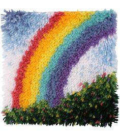 "Wonderart Latch Hook Kit with Tool 12""X12""-Rainbow"