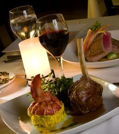 Fine Cuisine Photography, Restaurant Photography, New Jersey, Surf and Turf with Red and white Wine
