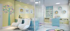 Decoração para consultórios e clínicas de pediatria (SALA DE ESPERA) - Muito Chique Medical Office Design, Home Office Design, Office Decor, Clinic Interior Design, Clinic Design, Dental, Doctor Office, Kids Decor, Room Decor