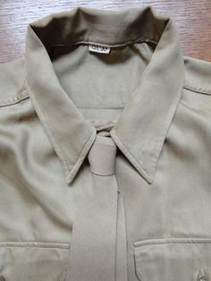 """Vintage WW2 1940s 40s 1950s 50s USAAF shirt patches military 44"""" chest khaki brown tie included (2) by TheDustbowlVintage on Etsy https://www.etsy.com/listing/242161057/vintage-ww2-1940s-40s-1950s-50s-usaaf"""