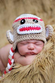Anchorage Newborn Photographer- newborn prop sock monkey