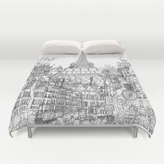 Paris! B&W Duvet Cover by David Bushell - $99.00