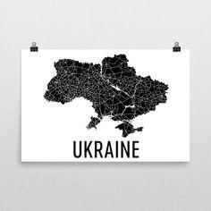 Ukraine Wall Map Print - Modern Map Art