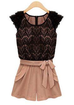 Love this Super Cute Black Pink Color Block Drawstring Waist Short Lace Jumpsuit #Black #Pink #Lace #Fashion