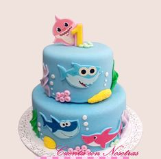 Torta Baby Shark, Tortas Niñas, Tortas, Cuenta con Nosotras Birthday Party Themes, 2nd Birthday, Shark Cake, Shark Party, Sea Theme, 3rd Baby, Girl Cakes, Baby Shark, Baby Party