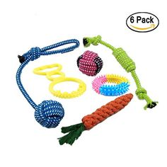 Pets Dog Toys (6-PACK) - Assorted Tough Ropes and Indestructible Natural Rubber Ball for Small to Medium Dogs ** Read more at the image link. (This is an affiliate link and I receive a commission for the sales) #PetDogs