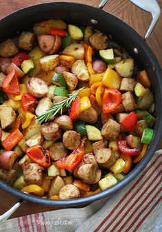 Skillet Summer Vegetables with Sausage and Potatoes – made with turkey sausage, potatoes and lots of veggies. Light and delicious!