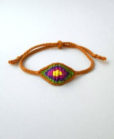 Brown eye Mens evil eye Cotton evil eye Yarn bracelet