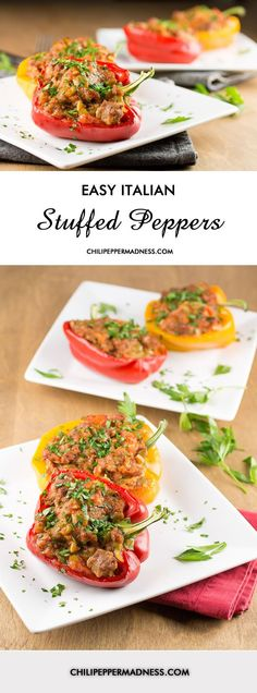 Easy Italian Sausage Stuffed Peppers - Stuffed peppers are easy to make with this recipe. Bell peppers stuffed with Italian sausage, tomato sauce and cheese, then baked. | ChiliPepperMadness.com
