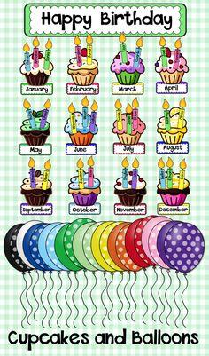 Birthday Display - Birthday Cupcakes with Balloons Happy Birthday Printable, Happy Birthday Signs, Birthday Charts, Ib Classroom, Kindergarten Classroom Decor, Classroom Displays, Preschool Birthday Board, Classroom Birthday, Summer Bulletin Boards