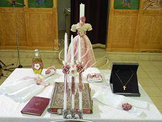 Βάπτιση με δαντέλα και χειροποίητα πλεκτά λουλούδια - Baptism with lace and handmade chrochet flowers