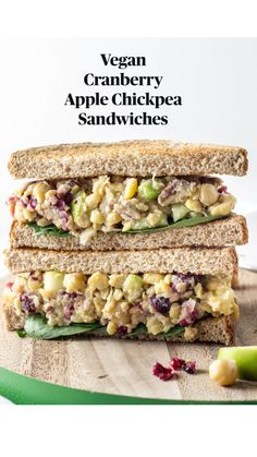 Bored with the same old lunch? Try this deliciously cravable Vegan Cranberry Apple Chickpea Salad Sandwich made with just 12 ingredients and oil free. Healthy Vegan Dessert, Tasty Vegetarian Recipes, Vegan Lunch Recipes, Vegan Lunches, Vegetarian Lunch, Vegan Foods, Vegan Dishes, Cooking Recipes, Healthy Recipes