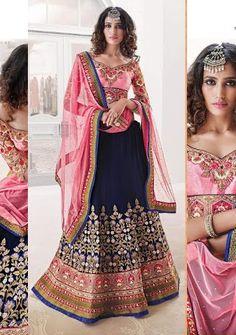 Heavy Blue And Pink Lehenga Choli   Zakasi.com
