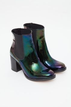 To Be Announced - Black Patent Petrol Ten 20 Chelsea Boot