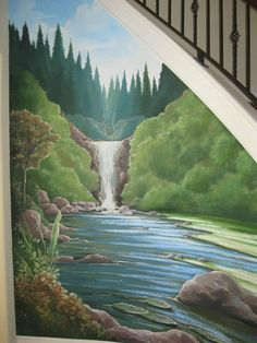 Nature, waterfall mural under a staircase.      www.dwcustommurals.com, Dream Walls Murals and faux Finish. By Artist Alfredo Montenegro
