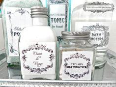 DIY Vintage Toiletry Bottle Labels ...go to this blog to save the labels <3