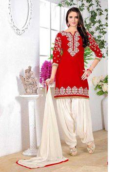 Red Cotton Punjabi Suit