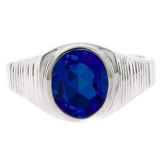 Gemologica Men's Oval-Cut Sapphire Gemstone Simple Sterling Silver Ring - This strikingly simple sapphire ring for men is sure to impress. A 10 X oval cut created sapphir Gold Pinky Ring, Mens Pinky Ring, Sapphire Jewelry, Sapphire Gemstone, Sapphire Diamond, Men's Jewelry Rings, Man Jewelry, White Gold Jewelry, White Gold Rings