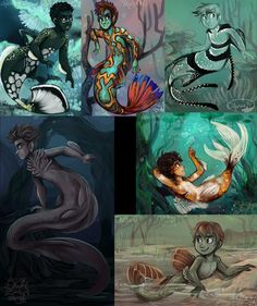Merdudes by sharpie91 ~ Huh, I never thought about mermaid people, I'll have to look into that...