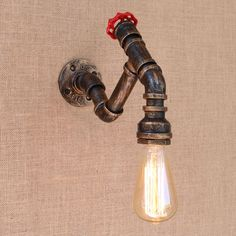 Retro metal Water pipe vintage loft wall lamp with edison/led bulb lights for cafe hallway bedroom living room US $76.00