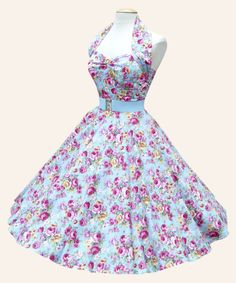 50s Halterneck Floral Dress | 1950s Dresses from Vivien of Holloway