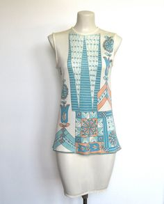 SOLD / Vintage 1960s Mod Peach & Turquoise Floral & Geometric Print / Shirt / Tunic by VelouriaVintage, $22.00 #vintage #mod