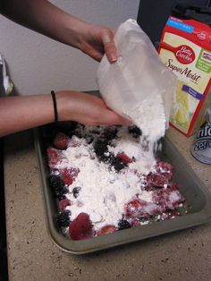 Frozen berries, dry cake mix, and 1 can of sprite. 350 for 35 min, yummy cobbler and it's a weight watchers recipe