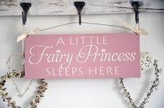 a little fairy princess sleeps here - home decor sign for woodland fairy themed pink and green nursery