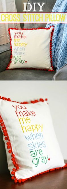 Use a saying to make this pretty DIY cross stitch pillow cover - and then add a cute pom pom trim!