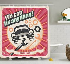 Ambesonne 1950s Decor Collection Auto Service Retro Poster and Mechanic Transport Workshop Quotes We Can Fix Anything Design Polyester Fabric Bathroom Shower Curtain Set 75 Inches Long Pink White -- Be sure to check out this awesome product.