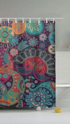Laundry Room Bathroom, Bathroom Shower Curtains, Fabric Shower Curtains, Master Bathroom, Shower Curtain Art, Colorful Shower Curtain, Colorful Curtains, Painted Flower Pots, Shower Accessories