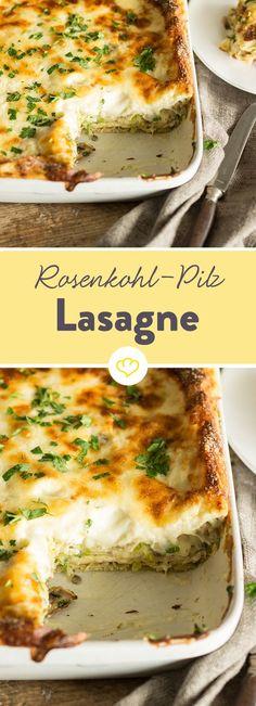 Verpasse dem italienischen Ofengericht eine winterliche Note und schichte deine Lasagne zur Abwechslung mit mildem Rosenkohl und gebratenen Pilzen.