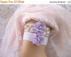 SUMMER SALE Garter, Wedding Garter, Bridal Garter, Wedding Garter Set, Lavender…