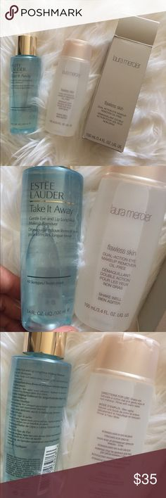 Estée Lauder, Laura mercier eye makeup removers Both full size. Authentic from Bloomingdales. Estée Lauder take it away gentle Eye and lip long wear make up remover. All skin types. Retail $22. Laura Mercier  flawless skin dual action Eye makeup remover oil free.$27. Never opened to keep fresh. No trades. Estee Lauder Makeup