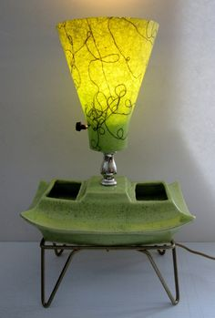 "Vintage Green TV Lamp Mid Century Modern T V Lamp 9 x 14"" Offered for $75"