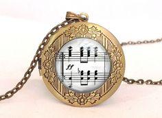 Medaillonketten - Klavierakkorde, Musiknoten, Fotolocket bronze - ein Designerstück von BuyMyBaby bei DaWanda