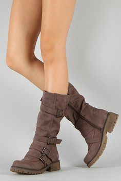 Combat Buckle Round Toe Riding Mid Calf Boot $37.20