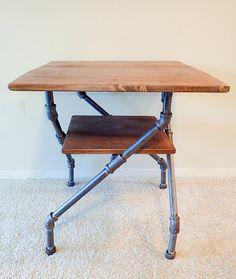 Industrial Pipe Desk, Industrial House, Rustic Industrial, Industrial Furniture, Industrial Office, Industrial Design, Pipe Table, Wood Table, Pipe Decor