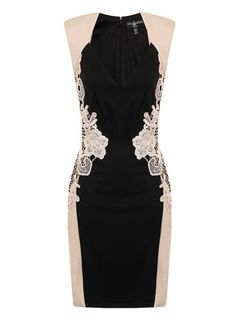 I just received this dress, the cut is FANTASTIC for my curvy body size 8 US(12 UK) probably could have gone to a 6 but it fits great!  Dorothy Perkins Black + Cream Bodycon Dress