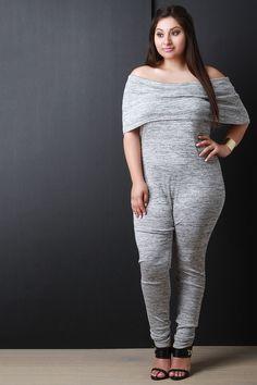 b06a1239b69 Description This plus size jumpsuit features a soft marled knit  fabrication