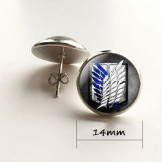 Japan Anime Attack on Titan brass Stud Earrings Women 12mm0.47inch mens 1pairlot New Cartoon drop shipping Dr Who Jewelry