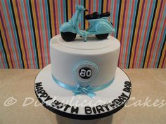 Chocolate sponge cake for a gentleman celebrating his birthday apparently the birthday boy used to have one. The Vespa is handmade x Vespa Cake, Fondant Cakes, Cupcake Cakes, Chocolate Sponge Cake, Birthday Parties, Birthday Cake, Homemade 3d Printer, Cute Desserts, First Birthdays