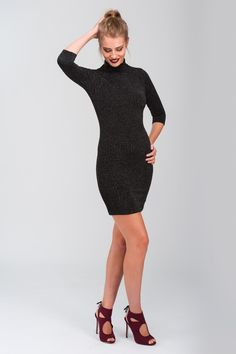 Lurex Turtle Neck Party Dress | Christmas Dress | Jane Norman Rock the party in a new season favourite—the lurex turtle neck party dress will make you shine all night. Made from a soft stretch lurex material in a body flaunting fit. Featuring high halter neck, three quarter sleeve design and measuring to above-the-knee length. We're styling it with a hot heel and bold lip to nail the look!
