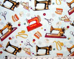 VINTAGE SEWING MACHINES AND NOTIONS FABRIC