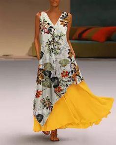 Floral V Neck A-Line Daily Vintage Dresses Vestidos Vintage, Vintage Dresses, Elegant Dresses, Casual Dresses, Ladies Dresses, Maxi Dresses, Fashion Dresses, Sleeveless Dresses, Pink Dresses